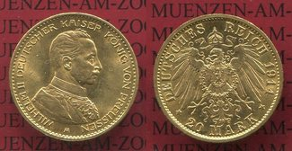20 Mark Goldmünze 1914 A Preußen, Prussia ...