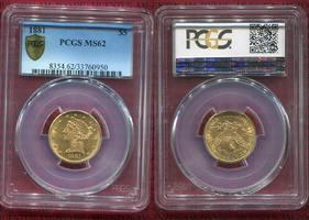 5 Dollars Half eagle 1881 USA Liberty, Fra...