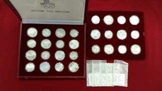 14 x 5 u. 14 x 10 Rubel Silber 1977-1980 R...