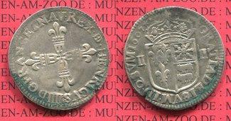 1/4 Ecu, Quart d écu 1607 Frankreich Henri...
