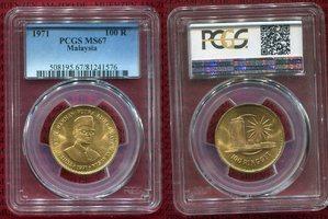 100 Ringgit Goldmünze 1971 Malaysia Prime ...