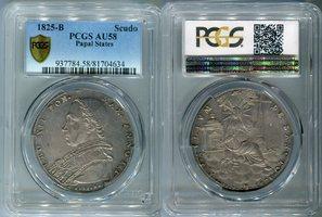1 Scudo Silbermünze 1825 B Vatikan Kirchenstaat Vatikanstaat Papst Leo XII vz PCGS zertifiziert AU58