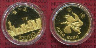 Hong Kong 1000 Dollars 1997 Polierte Platt...