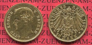 Bayern, Bavaria 10 Mark Goldmünze 1904 vz ...