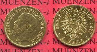 Baden, German Empire State of Baden 5 Mark...