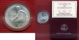 USA 1 Dollar Silber 1996 D Stempelglanz mi...