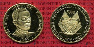 50 Francs Goldmünze 1965 Ruanda, Rwanda Un...