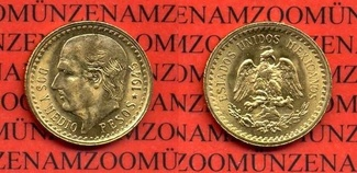 2 1/2 Pesos Goldmünze 1945 Mexico Mexico 2...