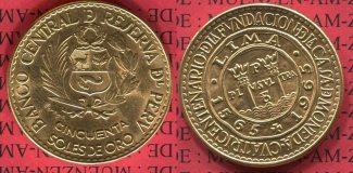 Peru 50 Soles de Oro Goldcoin 1965 stgl. P...
