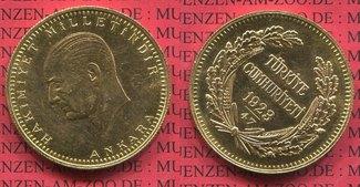 Türkei, Turkey 500 Kurush Goldmünze 1923/4...