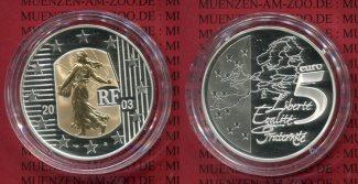 Frankreich France 5 Euro Bimetall Gold Sil...