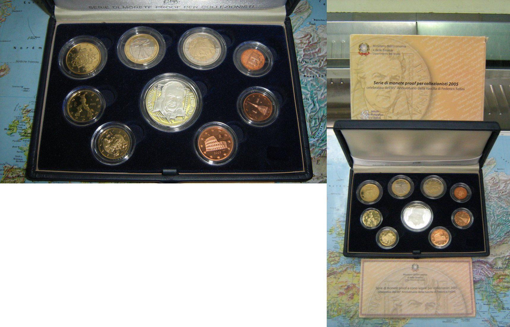 Euro Kursmünzensatz 2005 Italien Italien KMS Kursmünzensatz 2005 Polierte Platte mit Silber Fellini Bankfr. Proof Originalverp.
