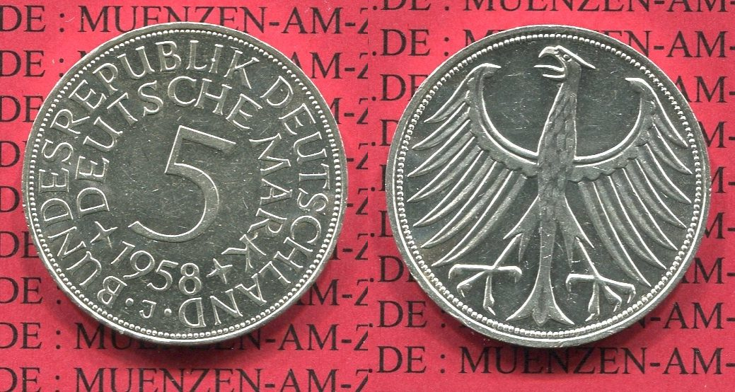 5 DM Silberadler 1958 J Bundesrepublik Deutschland 5 DM 1958 J, Kursmünze, Silberadler J. 387, Super Erhaltung ! au-unc