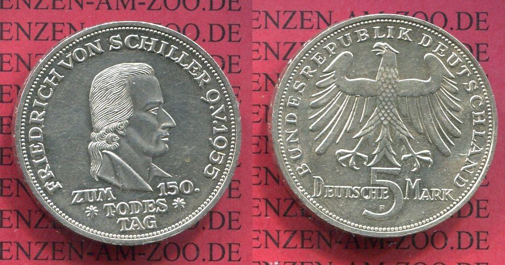 5 DM Gedenkmünze Silber 1955 F Bundesrepublik Deutschland 5 DM 1955 F, 150. Todestag von Friedrich von Schiller J. 389 f. vz, min übl. Kratzerchen