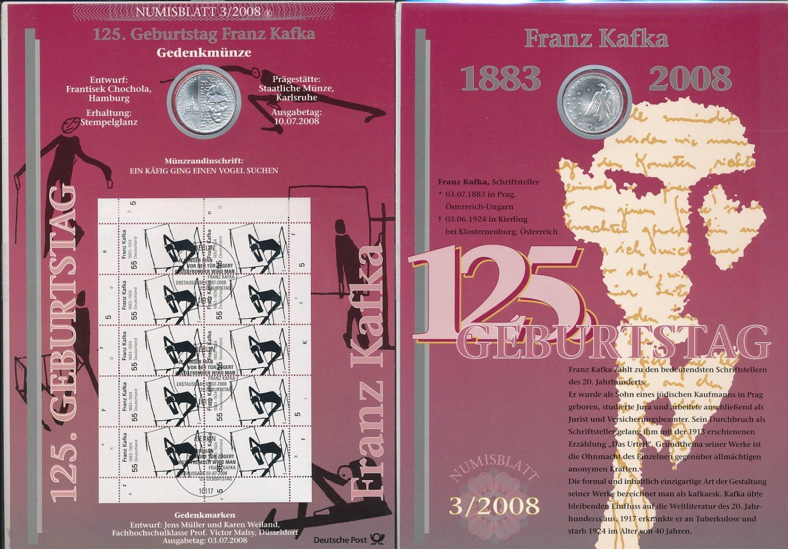 10 Euro Silbermünze im Numisblatt 2008 Bundesrepublik Deutschland FRG Germany Deutschland 10 Euro 2008, 125. Geburtstag franz Kafka german unc. coinsheet