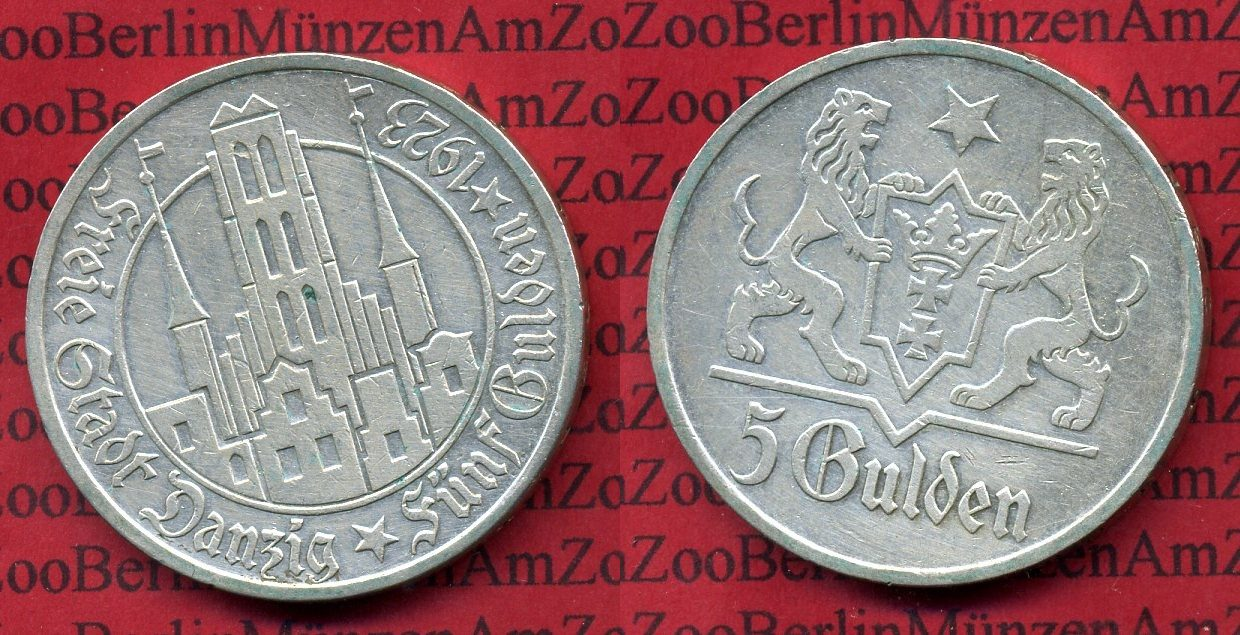 Danzig Danzig, Freie Stadt, 5 Gulden Silber Marienkirche 1923  Silber 5 Gulden Silber 1923 vf+ cleaned 