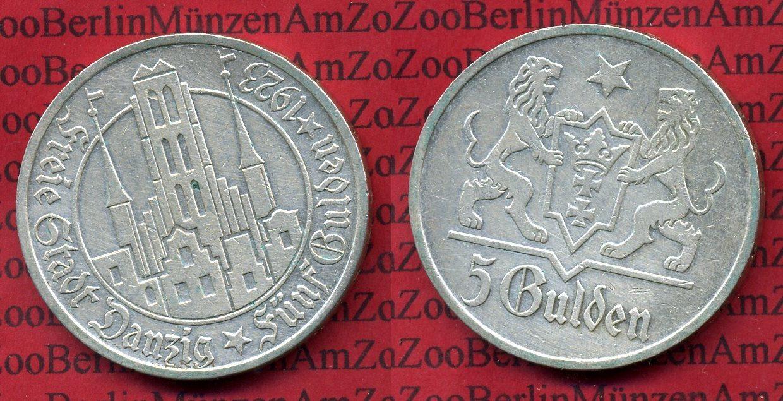 5 Gulden Silber 1923 Danzig Danzig, Freie Stadt, 5 Gulden Silber Marienkirche 1923 Silber vf+ cleaned