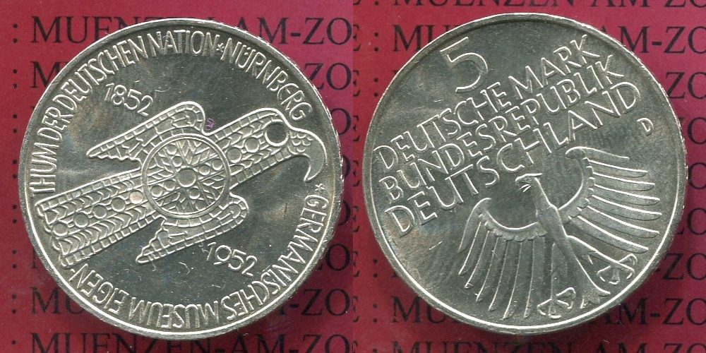 Bundesrepublik Deutschland First German Commemorative 5 DM Coin after WWII, German National Museum 1952 5 DM Silber Gedenkmünze 1952 D au-unc*