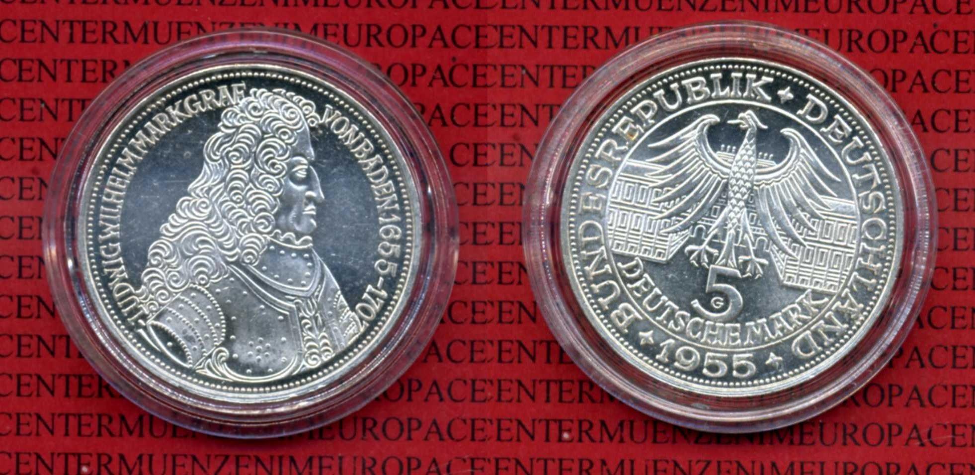 5 DM Gedenkmünze Silber 1955 Bundesrepublik Deutschland Deutschland 5 Mark 1955 Ludwig Wilhelm Markgraf von Baden Kapsel au