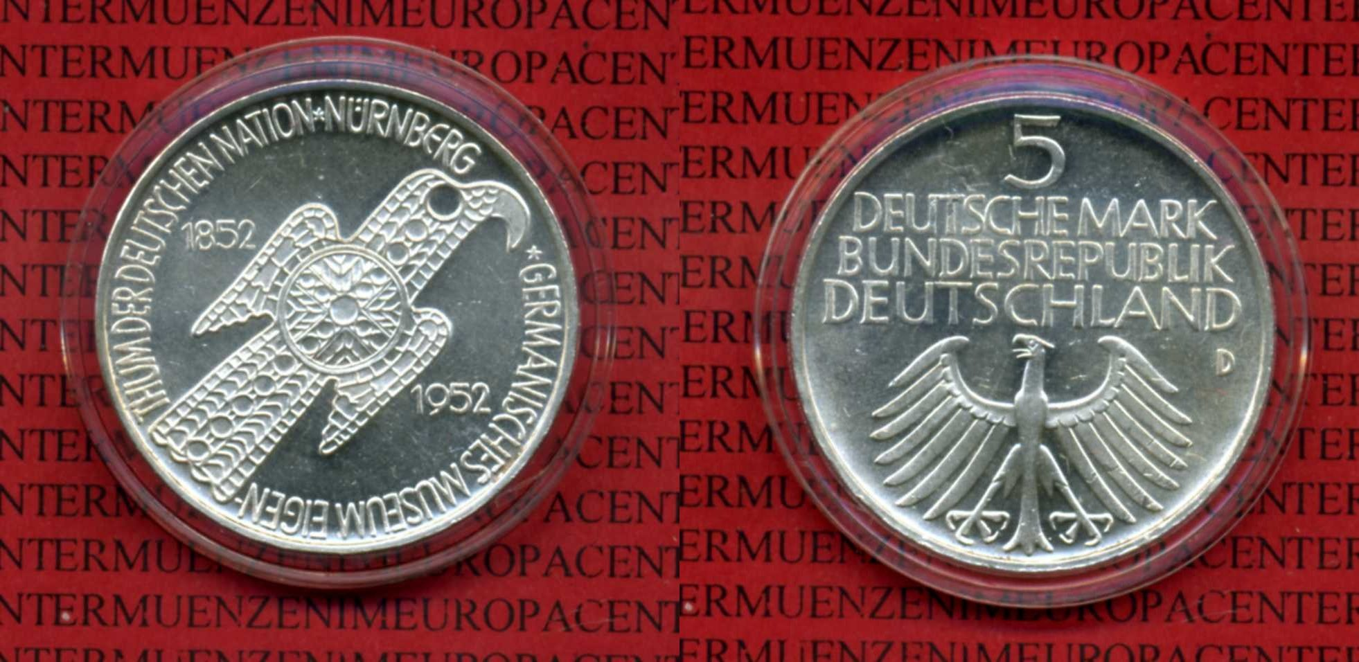 Deutschland Deutschland 5 Mark 1952 Germanisches Museum   Kapsel 5 DM Gedenkmnze Silber 1952 au-unc. 