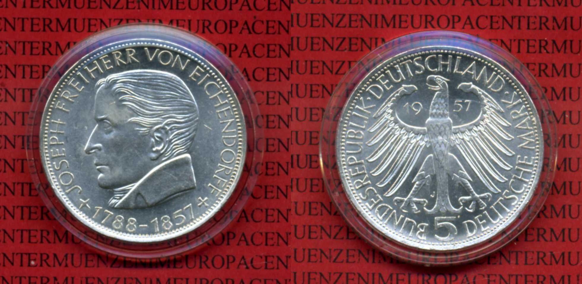 5 DM Gedenkmünze Silber 1957 Deutschland Deutschland 5 Mark 1957 Joseph Freiherr von Eichendorff  Kapsel au