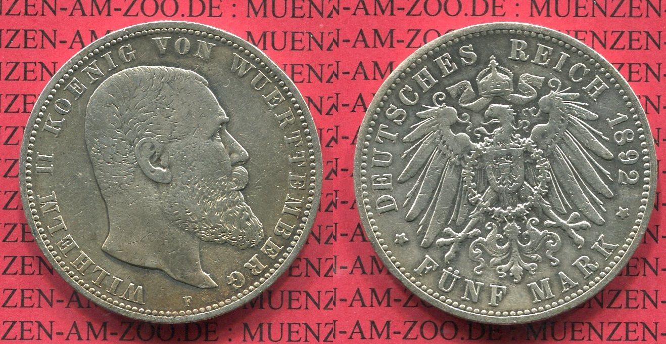 5 Mark Silbermünze 1892 Württemberg Württemberg 5 Mark 1892, Kursmünze, König Wilhelm II., J. 176 sehr schön