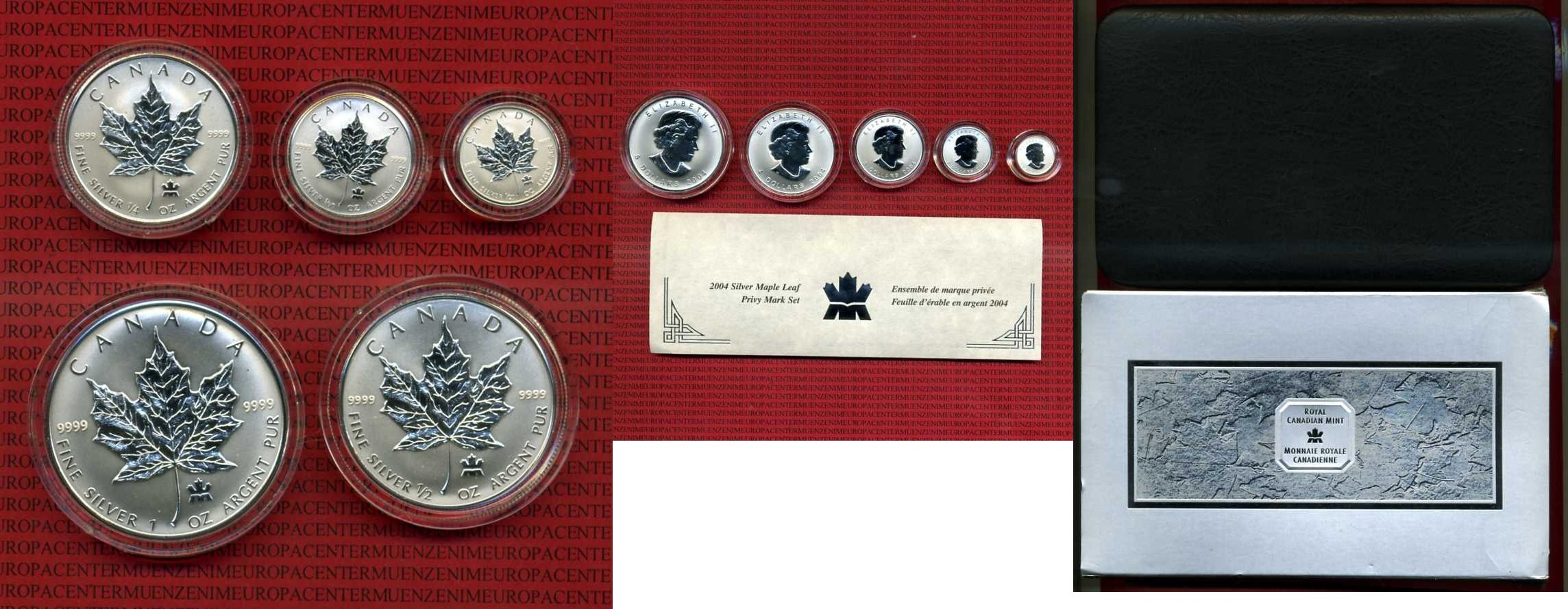 Kanada, Canada Kanada Privy Mark Set 2001, 5, 4, 3, 2 1 Dollar Silber BU  1/20-1 Unze Maple Leaf Pryvy mark 2004 Stempelglanz BU mit Box und Zertifikat 