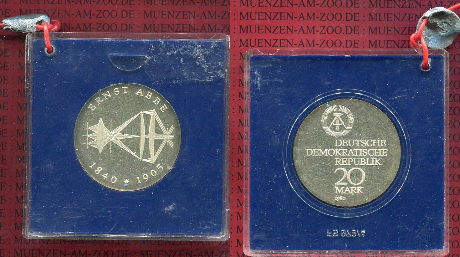 20 Mark 1980 DDR DDR 20 Mark 1980 A Silber, Ernst Abbe, Polierte Platte Polierte Platte* verplombt