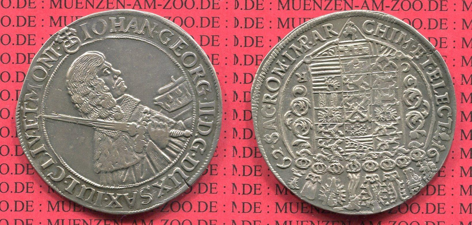 Taler 1662 Sachsen Albertinische Linie Johann Georg II. 1656-1680. Erbländischer Taler xf old toning