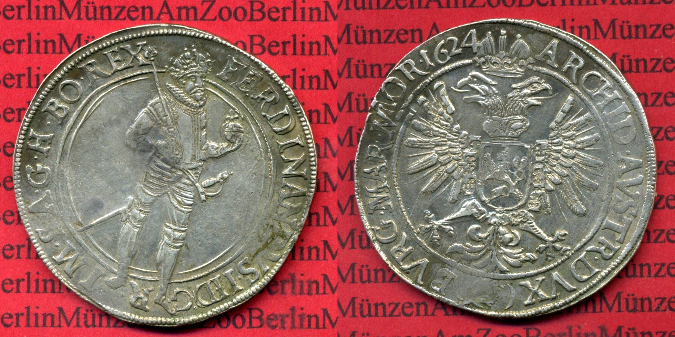 Taler Ferdinand II. Prag 1624 RDR Haus habsburg Österreich RDR Haus Habsburg Taler 1624 Ferdinand II. Prag, Dav. 3136 sehr schön-vorzüglich nicht gereinigt