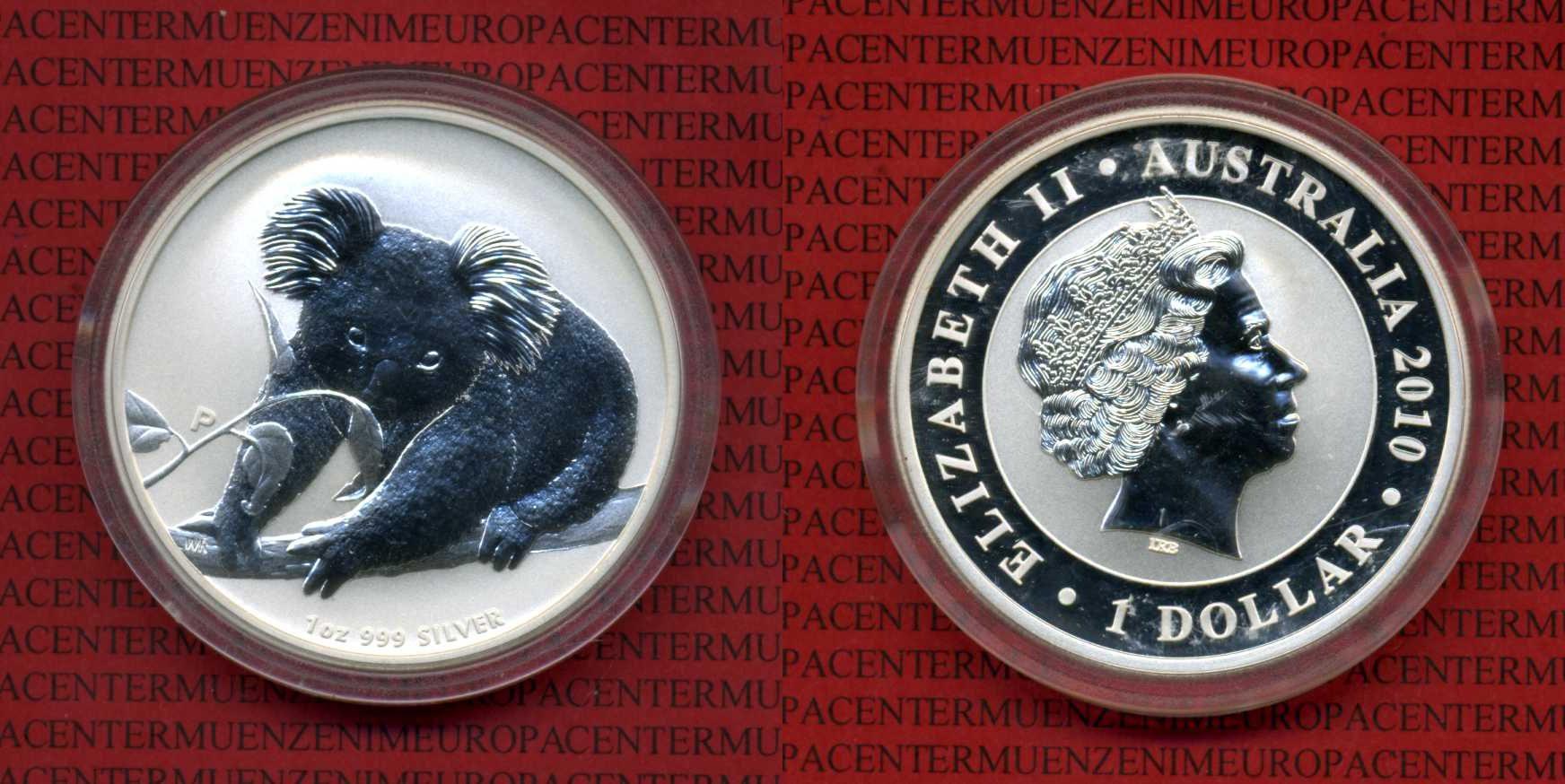 1 Dollar Koala Unze 2010 Australien Australia Australien 1 Dollar 1 Unze Silber 2010 Koala mit Kapsel Stempelglanz in Kapsel