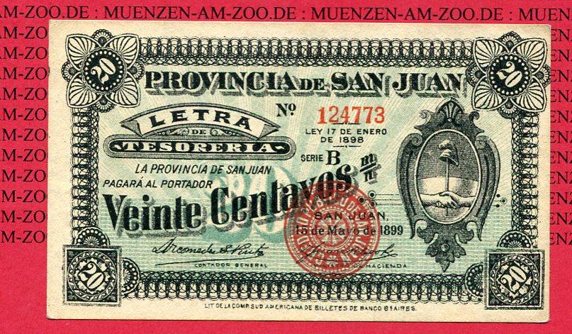 20 Centavos Letra Banknote 1898/99 San Juan Provinz Argentinien San Juan Provinz Argentinien 20 Centavos 1898/99 Letra Banknote gebraucht weniger gebraucht EF