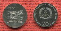 DDR, GDR Eastern Germany 20 Mark Silbergedenkmünze DDR 20 Mark 1975 Johann Sebastian Bach Silbergedenkmünze Probe vertiefte Noten
