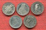 Bundesrepublik Deutschland, Germany FRG Die Ersten fünf 5 DM Gedenkmünzen Die ersten fünf 5 DM Gedenkmünzen Museum Schiller Markgraf Eichendorff Fichte