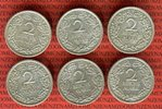 6 x 2 Mark 1926 A-J Weimarer Republik Deutsches Reich 2 Mark Kursmünzen... 125,00 EUR  +  8,50 EUR shipping