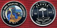 Equatorial-Guinea 7000 Francos Silber Farbmnze Guinea 7000 Francos Silber 1994 Farbmnze Wildlife Africa Vogel 
