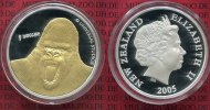 Neuseeland New Zealand 1 Dollar Silbermnze mit Goldapplikation Neu Seeland  1 Dollar Silber PP 2005 King Kong, teilvergoldet m. Reppa Zert.