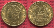 USA 20 Dollars Gold Double Eagle 1907 vz, ...