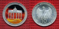 Bundesrepublik Deutschland 10 DM Farbmnze BRD 10 DM 1991 A Gedenkmnze Brandenburger Tor Farbmnze mit Kapsel