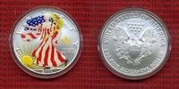 USA 1 Dollar Silver Eagle 1 Unze Farbmünze USA 1 Dollar 2007, Silver Eagle 1 Unze, Farbmünze mit Kapsel