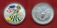 USA 1 Dollar Silver Eagle 1 Unze Farbmünze...