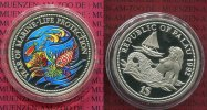 Palau 1 Dollar Farbmnze Palau 1 Dollar 1992 Farbmnze Silber, Marine Live Protection Clownfisch