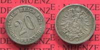 Kaiserreich 20 Pfennig Silbermnze 20 Pfennig Silber, 1874 E J. 5 , kleiner Adler, ss nicht gereinigt