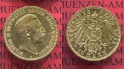 Preußen, State of Prussia German Empire 10 Mark Goldmünze Kursmünze Preußen 10 Mark Gold 1893 A J. 251 Wilhelm II.
