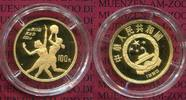 China Volksrepublik PRC 100 Yuan Goldmnze 1/3 Unze China 100 Yuan Gold 1990 Volleyball, Oly 1992 Polierte Platte
