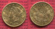 USA 20 Dollars Goldmünze Double Eagle USA 20 Dollars Liberty, Frauenkopf, 1876 S Gold, Coronet Head Twenty D.