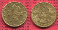 USA 20 Dollars Goldmünze Double Eagle USA 20 Dollars Liberty, Frauenkopf, 1877 S Gold, Coronet Head