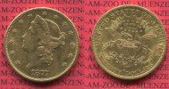 USA 20 Dollars Goldmünze Double Eagle USA 20 Dollars Liberty, Frauenkopf, 1877 S Gold, Coronet Head Twenty Dollars
