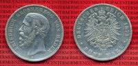Baden 5 Mark Silbermnze Baden 5 Mark 1875 Groherzog Friedrich, Silber, J. 29
