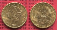 USA 20 Dollars Goldmünze Double Eagle USA 20 Dollars Liberty, Frauenkopf, Double Eagle 1879 S Gold,
